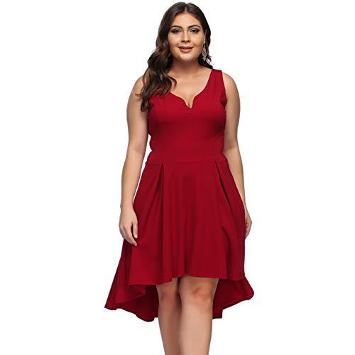 KUREAS V-Neck Plus Size Dresses Women Sleeveless Empire Waist Hi-lo Midi Sundress ()