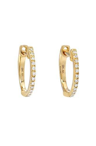 Vs1 Earring (Diamond Huggies earrings, Zoe Lev Jewelry, 14k solid gold, pave diamond)