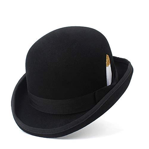 Fashion Fashion Pure Wool Men Fedora Hat Navy Black Grey Floppy Brim Woolen Felt Bowler Hat Casual Dome Winter Derby Hat Caps Creative (Color : Black, Size : 55CM)