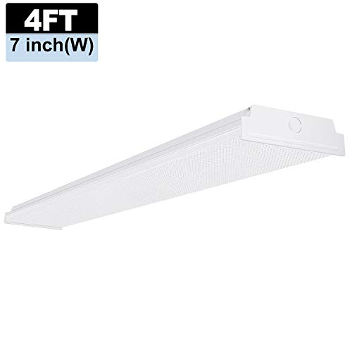 AntLux 4ft LED Garage Shop Lights, LED Wraparound Light Fixture 50W, 5500 Lumens, 4000K Neutral White, 4 Foot Integrated Low Profile Linear Flushmount Ceiling Lighting, 128W Fluorescent Replacement ()