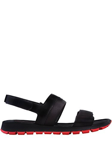Prada Mens Spazzolato Double-Strap Sandals, Black/Red