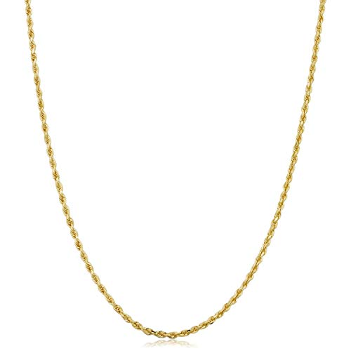 Kooljewelry 10k Yellow Gold 1.5 mm Rope Chain Necklace (14 inch) ()