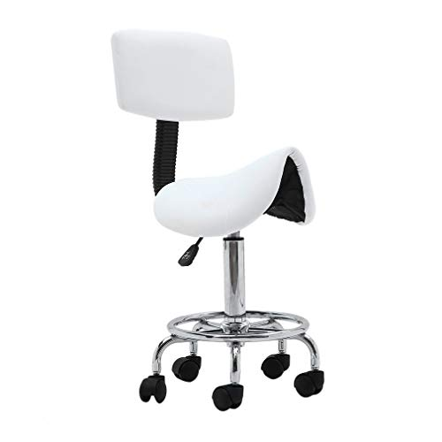 Homgrace Hydraulic Salon Stool Rolling Saddle Chair, Adjustable 360 Degree Swivel Massage Chair Tattoo Facial Spa with Backrest (White 6)