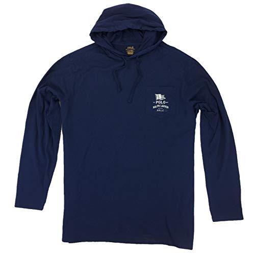 Polo Ralph Lauren Men's Marine Hoodie Long Sleeve T-Shirt (X-Large, Navy)
