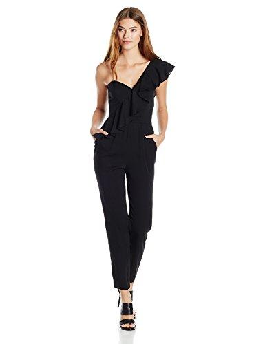 MILLY Women's Cascade Ruffle Jumpsuit, Black, 2