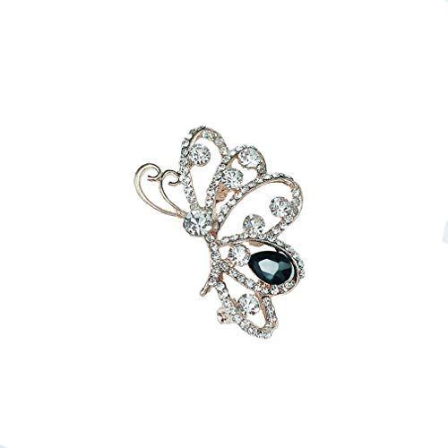 DearAnswer Crystal Rhinestone Filigree Butterfly Brooch Pin Elegant Lapel Pin Fashion Clothing Accessories,Blue