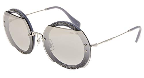 f14a6882ad13 MIU MIU REVEAL Glitter 06S Silver Grey Crystal Pave Mirrored Sunglasses