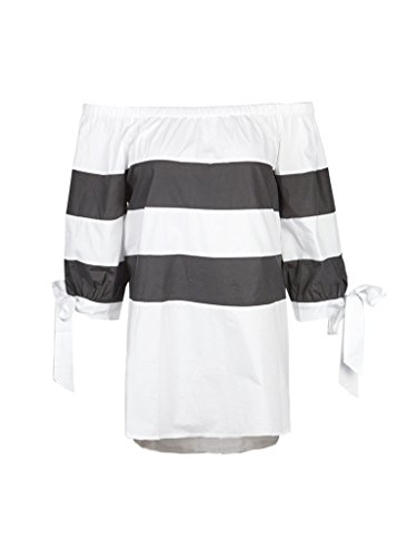 Womens Classical Striped Blouse Shoulder