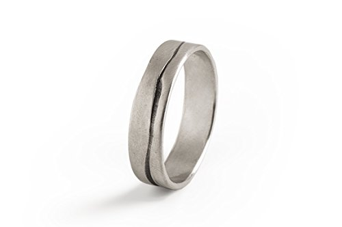 Men Grooved Ring, Mens Wedding Band,Sterling Silver Wedding Ring, Oxidized Silver Ring.