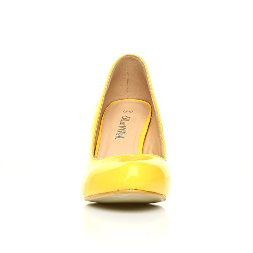 PEARL Yellow Patent PU Leather Stiletto High Heel Classic Court Shoes CIMRRNTaV