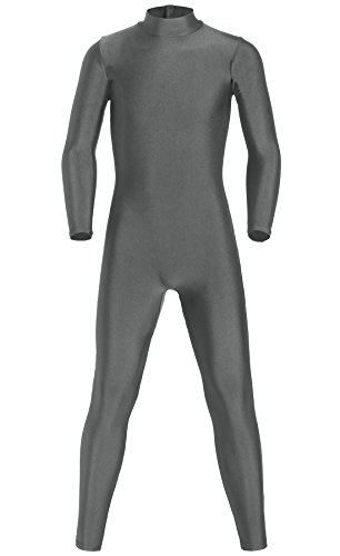 Gray Wolf Costumes (JustinCostume Kids Spandex Turtleneck Full Body Unitard Costume, 8, Gray Wolf)
