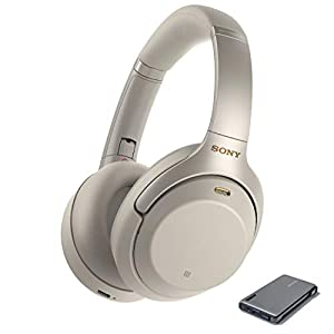 Sony WH1000XM3 Wireless Noise Canceling Over Ear Headphones, Silver (WH-1000XM3/S) with Power Bank Portable Charger