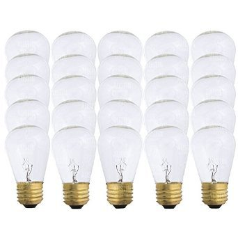 Pack of 25 - S14 11 Watt Glass Light Bulbs - Clear Glass- By Austin Light Co. - Warm Incandescent Replacement Bulbs. Idea for Austin Light Co String Lights. Fits E27 & 26 Base.