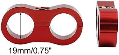 X AUTOHAUX 4 Pcs AN10 19mm Red Aluminium Alloy Fuel Oil Hose Separator Clamp