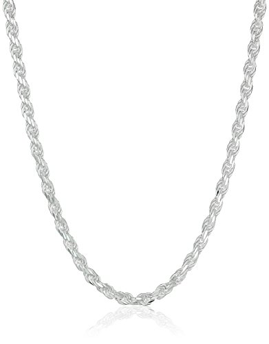 (Amazon Essentials Sterling Silver Diamond Cut Rope Chain Necklace,)