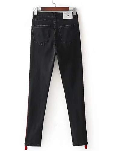 pour Black YFLTZ Coton Color Femmes Printemps Pantalon Patchwork Slim Jeans en Block awXFOUq