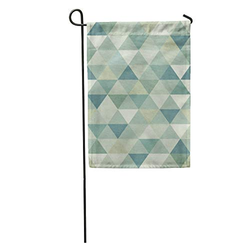 Semtomn Garden Flag Green Vintage Geometric Pattern on Blue Geometry Wool Abstract Symmetry Home Yard House Decor Barnner Outdoor Stand 28x40 Inches Flag