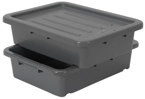 Continental 1525GY-BP, Heavy-Duty Bus Tub and Lid, Bulk Packed, 5'' Depth, Grey (Case of 210) by Continental Commercial