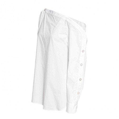 Moda Asimétrico Un hombro Off The Shoulder Hombros al Descubiertos Aire Escote Bardot Botones Abotonada Laterales Manga Larga Algodón Blusón Blusa Camisero Camiseta Camisa Top Blanco Blanco