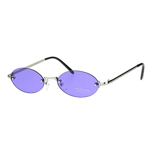 Mens Snug Pimp Color Lens Narrow Oval Rimless Sunglasses -
