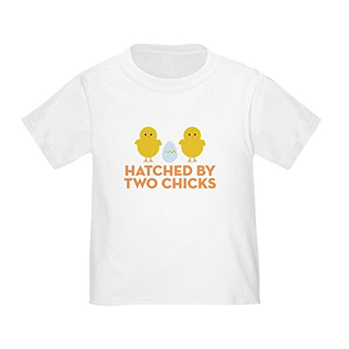CafePress Hatched by Two Chicks Toddler T Shirt Cute Toddler T-Shirt, 100% Cotton White