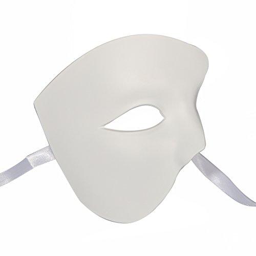 [Xvevina Classic Vintage Venetian Half Face Phantom of The Opera Masquerade Masks (plain white)] (Plain White Mask Costume)