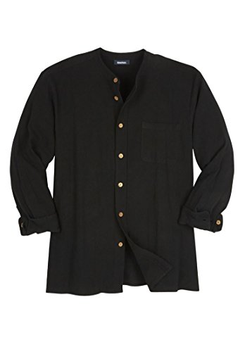 Kingsize Gauze Mandarin Collar Button Down