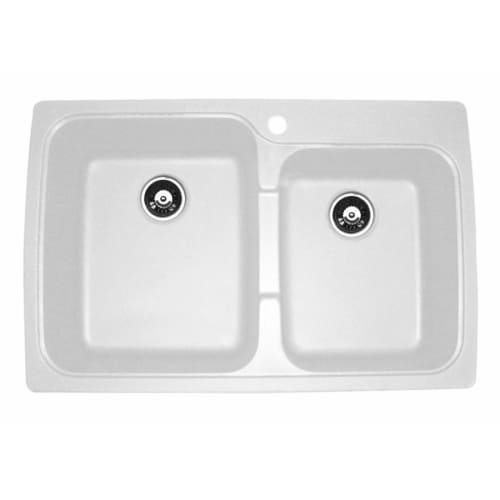 Astracast Kitchen Sink - Astracast US20RWUSSK Offset Double Bowl Kitchen Sink, White
