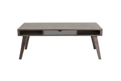 Eurø Style Daniel Dark Walnut-Stained Ash Veneer Coffee Table with Sawhorse Style Base