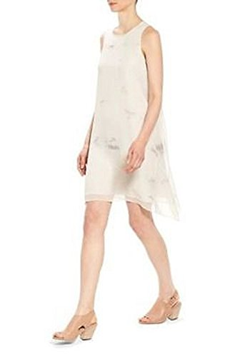 Eileen Fisher Tonal Cloud Shibori 100% Silk Bone Jewel Neck Shift Dress Size L MSRP $398