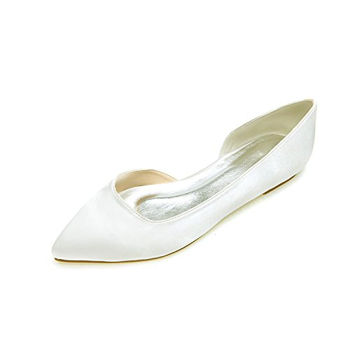 6CM Heel Closed Women Applique Ivory 0 Satin RF591 Toe Flat Shoes Elobaby Formal Handmade Wedding 7qpqfw