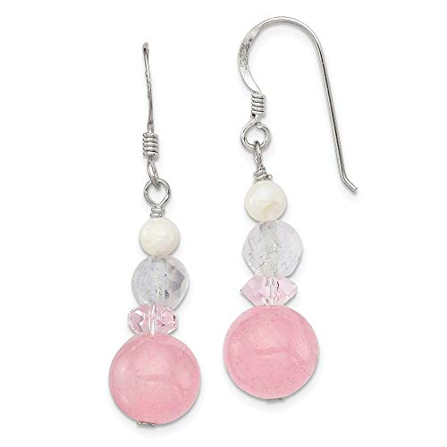 Mia Diamonds 925 Sterling Silver Solid Pink and White Crystal/Jade/Mother Of Pearl Dangle Earrings (36mm x 11mm) ()