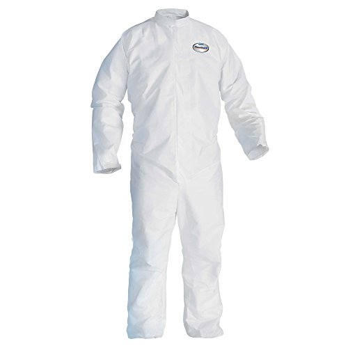 Kleenguard A30 Breathable Splash and Particle Protection Coveralls (46003), REFLEX Design, Zip Front, Open Wrists & Ankles, White, Large, 25 / Case