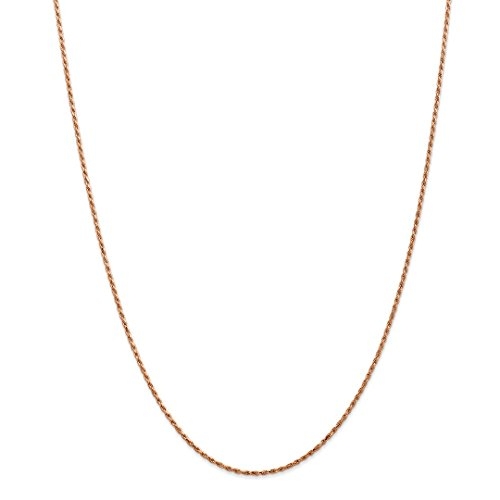 14k Rose Gold 1.5mm Link Rope Chain Necklace 18 Inch Pendant Charm Fine Jewelry For Women Gift Set