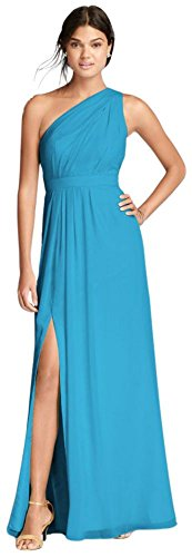 Malibu Shoulder Pack - David's Bridal Long One-Shoulder Crinkle Chiffon Bridesmaid Dress Style F18055, Malibu, 14