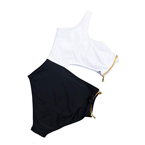 - Sexy Women Swimsuit One-Piece Bandage Split Solid Color Bikini Hardback Broadcloth Swimwear for Lady Beige L