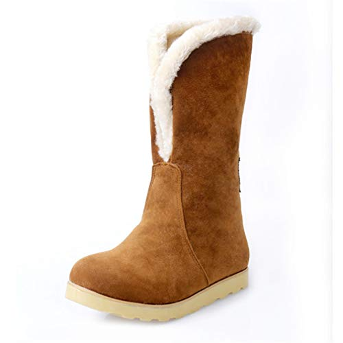 JOYBI Women Winter Round Toe Mid-Calf Boots Warm Slip On Fur Lined Comfortable Flat Faux Suede Snow Boot