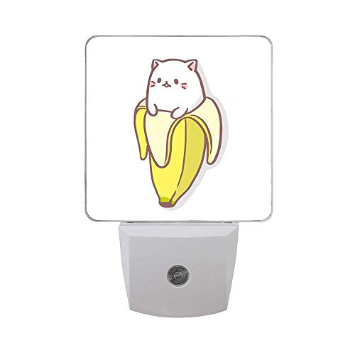 Kawaii Cat and Banana 2PCs Led Night Lights, Auto Sensor Dusk to Dawn Plug in Night Lights for Kids Baby Girls Boys Adults for Nursery Bathroom Bedroom Hallways Kitchen Stairs (Fish Lamp Banana)