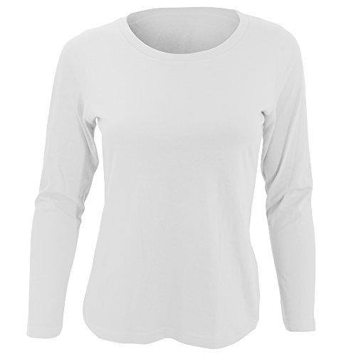 Maglia Lunghe Bianco Cotone Donna 100 Sols Maniche Girocollo dqw0xnFt