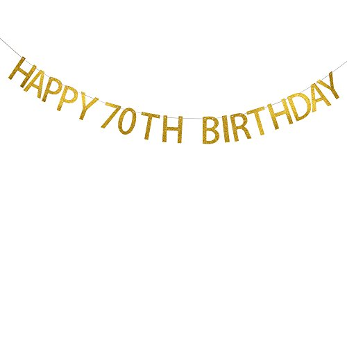 Happy 70th Birthday Gold Glitter Banner Birthday Party
