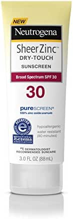 Neutrogena Sheer Zinc Oxide Dry-Touch Sunscreen Lotion with Broad Spectrum SPF 30, Water-Resistant, Hypoallergenic & Non-Greasy Mineral Sunscreen, 3 fl. oz