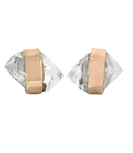 Melissa Joy Manning 14k Gold Bezel Wrapped Mini Herkimer-Diamond Stud - Joy Melissa Aquamarine Manning Earrings