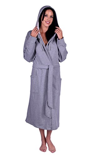 "Turquoise Textile Women's Hooded Sweatshirt Robe (Size 44"" Length, Gray)"