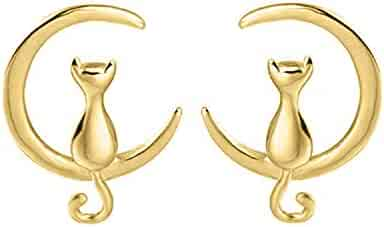 f85a8cd86 Cat on Moon Stud Earrings 14K Gold Plated Crescent Moon Cat Earrings Cat  For Mother's Day