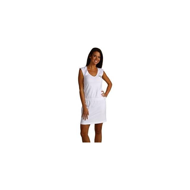 Lacoste Womens Sleeveless Pima Cotton V neck T shirt Dress with Belt   White (Large)