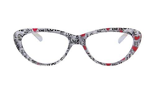 Agstum Womens Cat Eye Computer Glasses Frames Optical Eyeglasses Clear Lens 53-18-140 (Black/White, - Spectacle Frames Cat
