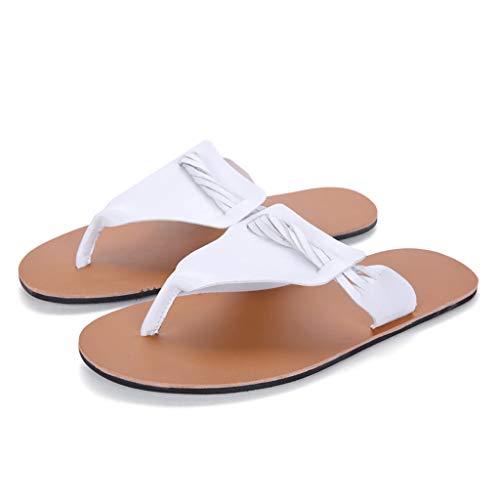 SUNyongsh Men's Gentleman Slippers Fashion Leisure Wear Non-Slip Rome Beach Slippers Shoes White ()