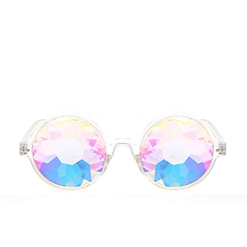 world-palm Rave Men Round Sunglasses Women Psychedelic Prism Diffracted Lens ()
