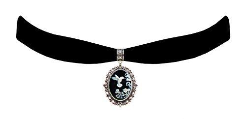 Victorian Vault Black Velvet Choker Hummingbird Cameo Gothic Steampunk Pendant Necklace]()