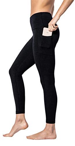 Leggings Cotton - 90 Degree By Reflex - High Waist Cotton Power Flex Leggings - Tummy Control - Black Ankle Length - XL
